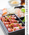 pork slices and seafood for Sukiyaki 18811665