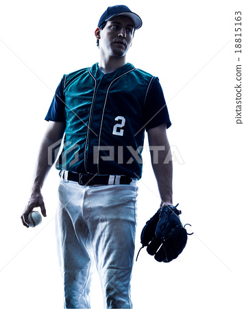 man baseball player silhouette isolated 18815163