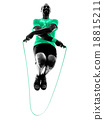man jumping rope exercises fitness silhouette 18815211
