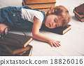 tired little girl fell asleep for books 18826016