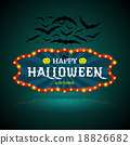 Happy Halloween banner with bat. 18826682