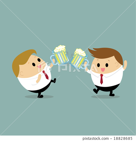 Businessman drinking beer with his Colleague 18828685