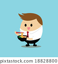 Vector of Cute businessman eating noodle,ramen  18828800