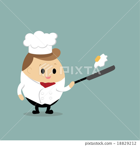 Vector of cute cartoon of chef cooking fried egg 18829212