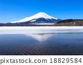 Mount Fuji reflected in Lake Yamanaka, Japan. 18829584