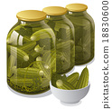 canned jars of cucumbers 18830600