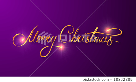 Gold Text Design Of Merry Christmas On Purple - Stock Illustration ...