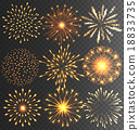 Golden Festive Firework Salute Burst on Black 18833735