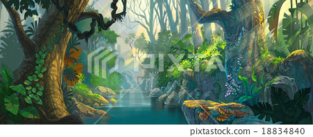 fantasy forest painting 18834840