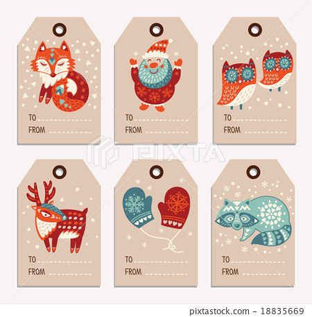 christmas and new year gift tags stickers labels