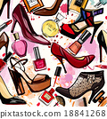Watercolor cosmetics and shoes collection 18841268