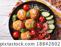 Italian arancini rice balls with cheese top view 18842602