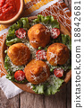 Arancini rice balls and tomato sauce top view 18842681