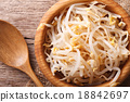 sprouts of mung beans in a wooden bowl close-up 18842697