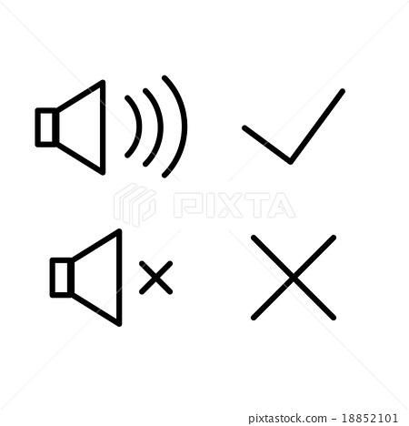 Vector icons sound volume loud quiet, tick, cross 18852101