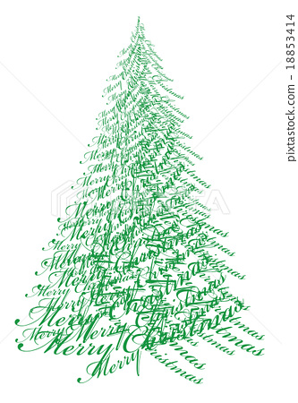 Christmas tree with text, vector