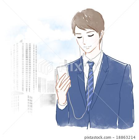觀看在智能手機的一個人 18863214
