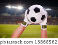 closeup goalkeeper super save on stadium light 18868562