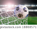 soccer ball hit the net on stadium light backgrond 18868571