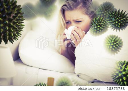 Stock Photo: Composite image of blonde woman sneezing