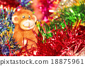 Festive card with Christmas tinsel and fire monkey 18875961