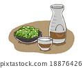 edamame, japanese sake, vector 18876426