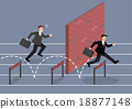 Businessman jumping over hurdle competition 18877148