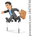 3D Businessman in hurdle race. Overcoming concept 18879746