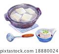 煮豆腐 水彩畫 用鍋烹飪 18880024