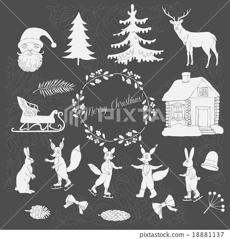 Christmas in forest silhouettes 18881137