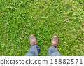 People wear canvas shoe standing on grass field. 18882571