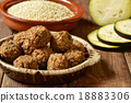 vegan meatballs on a wooden table 18883306