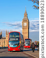 London with Big Ben and red buses in England, UK 18890623