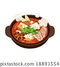 泡菜火锅 矢量 肉体 18891554