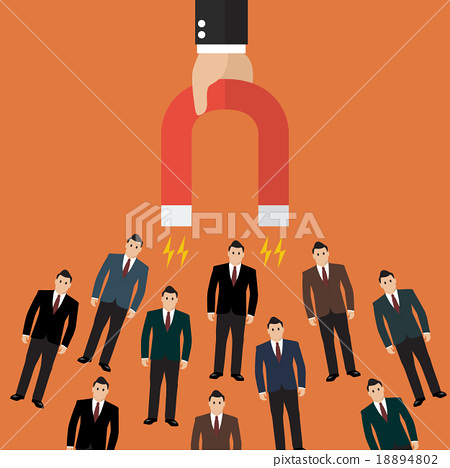businessman holding magnet attracting customers  18894802