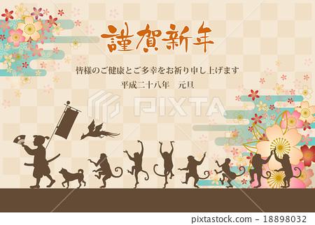 桃太郎和猴子行军和樱花背景伴随补充 18898032