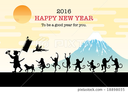 新年贺卡 贺年片 猴子 18898035