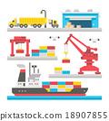 Flat design cargo port equipment 18907855