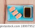 Top view to california maki sushi with salmon 18907952