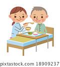 노인의 식사 시중을하는 간병인의 여성 18909237