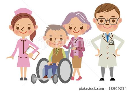 醫務人員和病人形象(醫生,護士,老年夫婦) 18909254