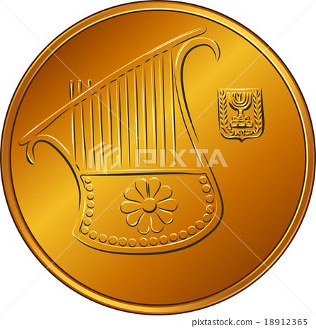 Vector Gold Israeli money half-shekel coin  18912365