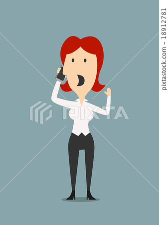 Businesswoman discusses contract on the phone 18912781