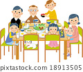 矢量 三代人 吃 18913505