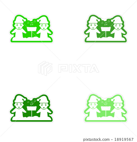 Set of paper stickers on white background children 18919567