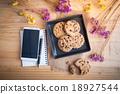 Chocolate chip cookies in black ceramic dish 18927544