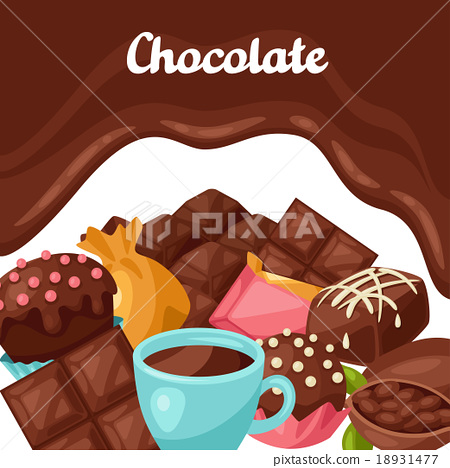 Chocolate background with various tasty sweets and 18931477