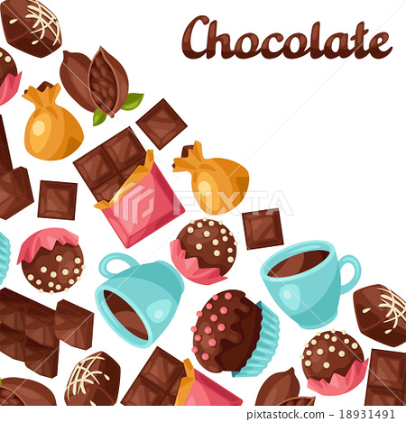 Chocolate background with various tasty sweets and 18931491