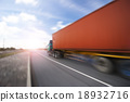 Generic big trucks speeding on the highway at sunset - Transport industry concept , big truck containers 18932716