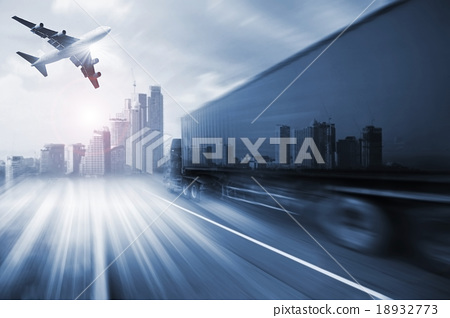 Stock Photo: container truck , freight cargo plane in transport and import-export commercial logistic ,shipping business industry